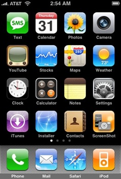 iPhone Home Screen screencap