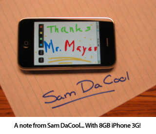 Runner-up winner Sam DaCool and his 8GB iPhone 3G