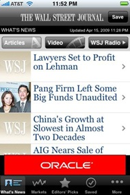 Wall Street Journal Mobile Reader for iPhone