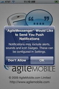 Agile Messenger push notifications