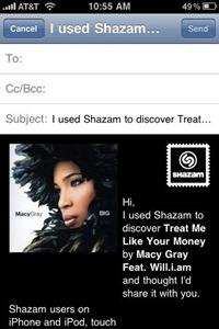 Shazam app for iPhone