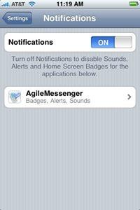Agile Messenger push notification settings