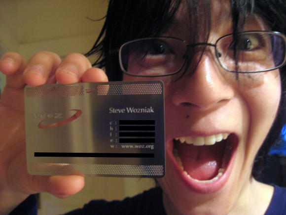 Steve wozniak has awesome business cards isource for Business card iphone app