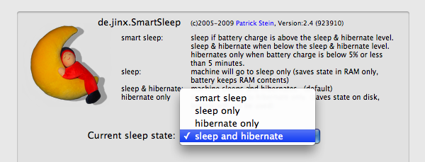 SmartSleep lets you choose between four sleep modes.