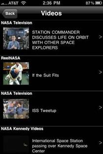 NASA iPhone app videos