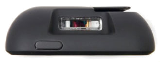 Magstripe reader on top. Barcode reader in center.