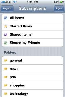 Feeddler RSS Reader iPhone app