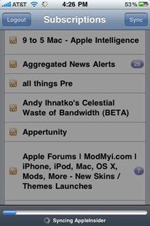 Feeddler iPhone app