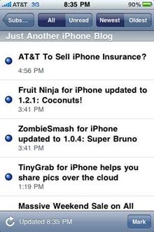 Feeddler RSS Reader on iPhone