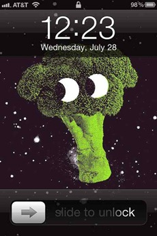Broccoli in Space iPhone wallpaper