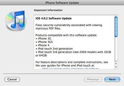 iOS 4.0.2 update