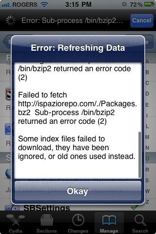 error refreshing data cydia