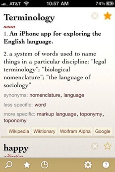 Terminology app for iPhone