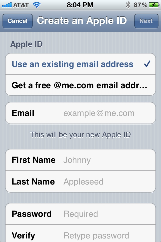 email address new account