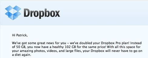 Your Dropbox Pro plan now has twice as much space!