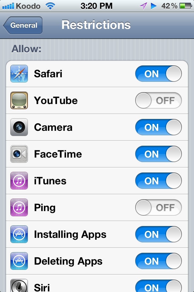 disable youtube app ios 5
