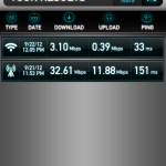 The speed test results of my Wi-Fi connection (top) and my LTE connection (bottom).