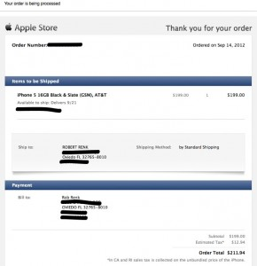 iPhone Purchase confirmation