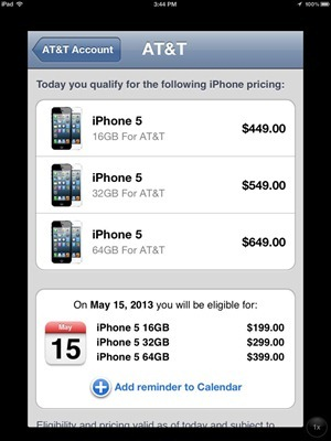 iPhone 5 ATT Pricing