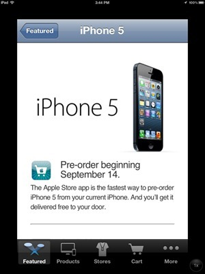 iPhone 5 Apple Store app