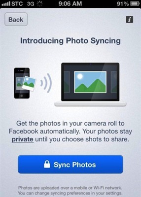 Facebook photo sync