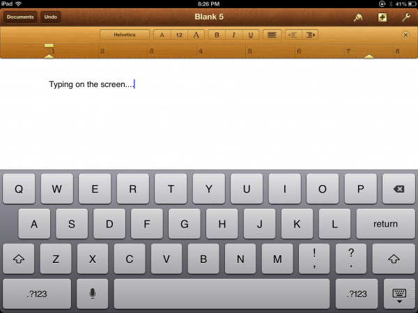 Typing on the iPad works well enough for less intense and shorter typing projects.