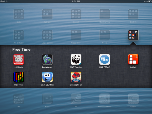 "An example of the ""Free Time"" folder from one of our school's iPads."