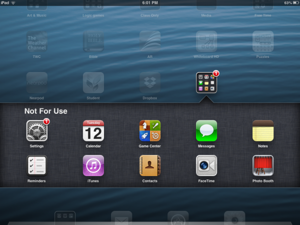 "An example of a ""Not for Use"" iPad folder that helps students know off limit apps."