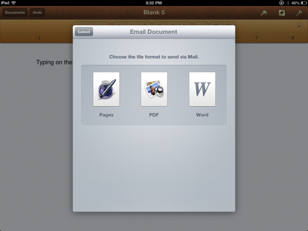 Emailing documents from iWork apps always give you the option to email them for Microsoft Office compatibility.