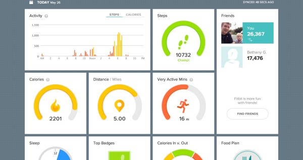 "The Fitbit online ""Dashboard"" is great for seeing all your data in a glance."