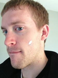 Because I have absolutely no facial flaws whatsoever, I put a sticker in my face in a photo to see if I could remove it using the cloning tool. See the results in the next photo.