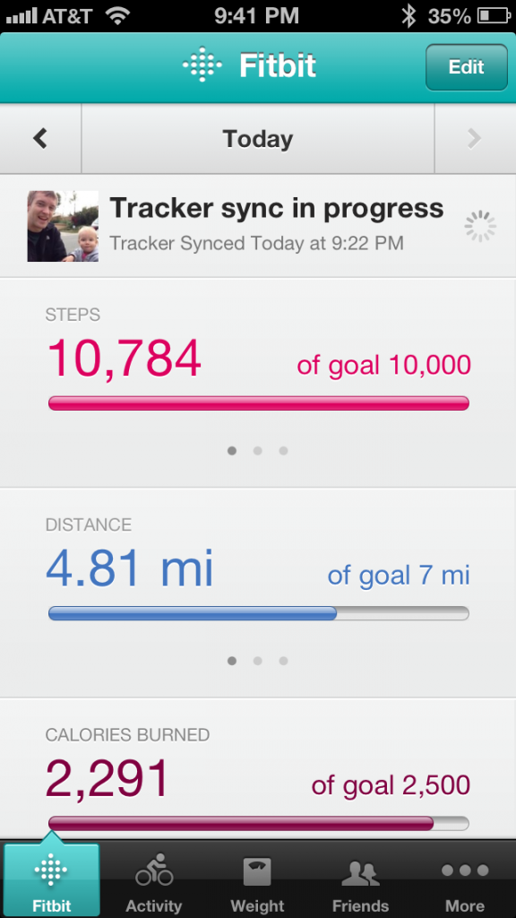 Tracking my progress on my iPhone.
