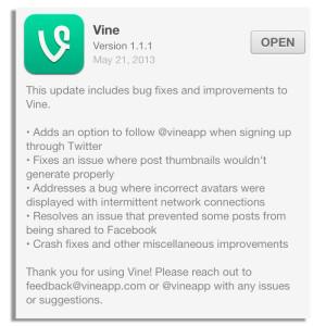 vine update message