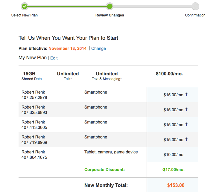 Mobile Share Plan Confirmation Isource